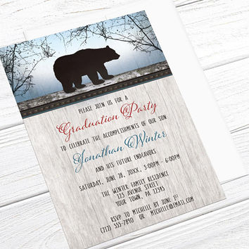 Bear Graduation Invitations - Rustic Wood Red or Green with Blue - Woodsy design for Graduation Party - Printed Bear Invitations