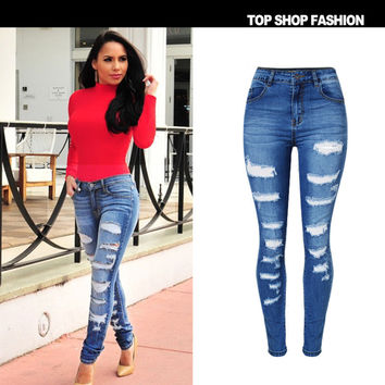 Hot Sale High Waist Slim Stretch Denim Fashion Plus Size Skinny Pants [6365914820]