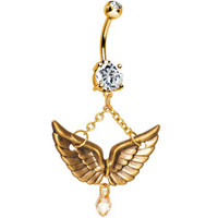 Handcrafted Gold Plated Double Gem Antique Brass Wings Belly Ring   Body Candy Body Jewelry