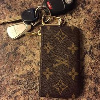 LV Louis Vuitton Fashion Logo Print Leather Key Pouch