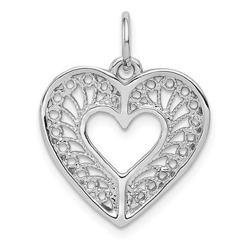 14k White Gold Diamond Cut Filigree Heart Charm or Pendant, 17mm