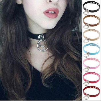 New Fashion Harajuku Handmade Sexy O-Round Collar Punk Rock Gothic Choker Necklace Belt Torques for Women Anime Necklaces