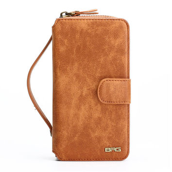 Multifunction Wallet Leather Case For iPhone7 7Plus 6S 6Plus 5S SE Zipper Purse Pouch Phone Cases Lady Women Style Handbag Cover -0315