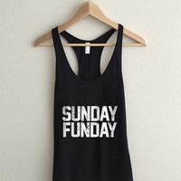 Sunday Funday Dirty Vintage Typography Racerback Tank Top