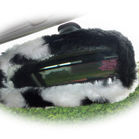 Black & white cow animal print faux fur furry fluffy fuzzy car rear view interior mirror cover