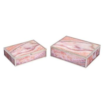 A11203 Mundi Set Of 2 Boxes Pink Geode