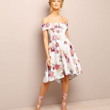 White Floral Print Bardot Neck Dress