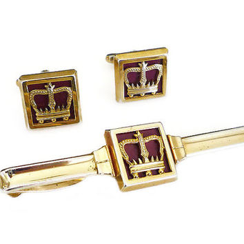 Hickok Cufflinks Tie Clip Crown Royal Gold Tone Maroon Retro Vintage Man Mens Accessories