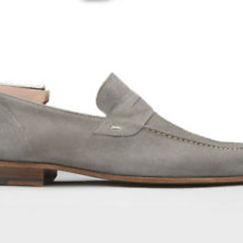 Handmade Men Gray Suede Loafer Slipper, Party Dress Men's Gray Suede Shoes