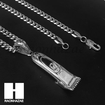 Iced Out 316L Stainless steel Silver Barber Clipper Trimmer Pendant SS017