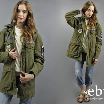 Army Jacket Camo Jacket Air Force Patches Jacket 60s Military Coat 1960s Coat Army Green Coat Military Jacket Camouflage Men's Jacket S M L