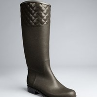 Dav gunmetal shimmery rubber patent quilted rain boots | BLUEFLY up to 70 off designer brands