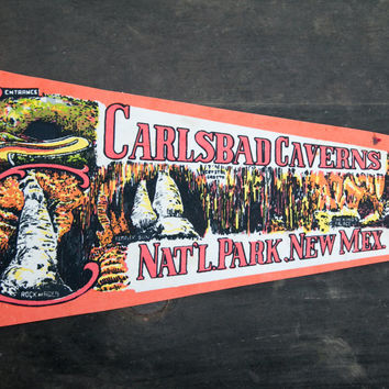 Vintage Carlsbad Caverns National Park Pennant. New Mexico multi color on orange background. Souvenir