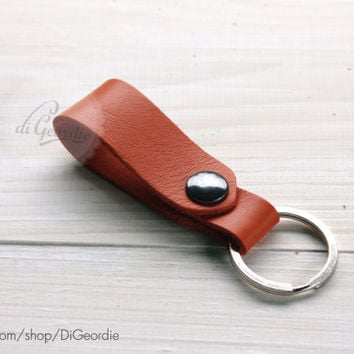 Leather keychain orange leather key fob key chain genuine leather key chain belt strap key fob keychain leather key holder keychain leather