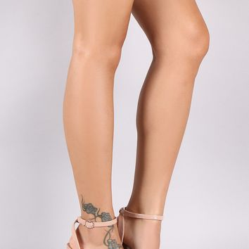 Bamboo Ankle Strap Patent Clear Cylindrical-Heel