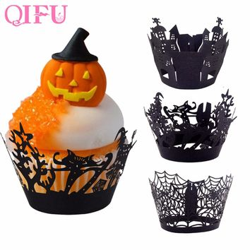 QIFU 12PCS Halloween Cut Cupcake Wrapper Cake Toppers Cup Wrapper Halloween Decoration DIY Baking party Birthday supplies