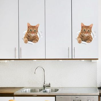Hoomall Waterproof Cat Dog 3D Wall Sticker Toilet Living Room Home Decor Decal Poster Refreigter Stickers Art Wall Poster