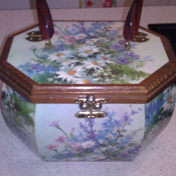 1960s Vintage Blue Green Floral Wood Box Decoupage Purse Daisies