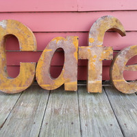 CAFE sign made from recycled tin restaurant kitchn