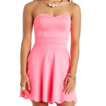 Neon Scalloped Strapless Skater Dress by Charlotte Russe - Neon Pink