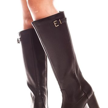 BLACK KNEE HIGH FAUX LEATHER HIGH HEEL BOOT