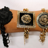 VINTAGE LION HEAD MEDUSA GREEK KEY CHUNKY CHAIN LINK BRACELETS REBECCA RAY NWT