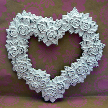Rose Heart Ornate Decorative Cast Iron Wall Decor Plaque in White Distressed Shabby Chic French Decor, Paris,