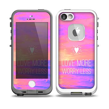 The Love More Worry Less at Dawn Sunset v3 Skin for the iPhone 5-5s Fre LifeProof Case