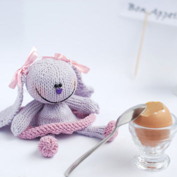 Lilac Bunny for keeping warm breakfast egg - knitting pattern