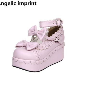 Angelic imprint woman mori girl lolita cosplay shoes lady high trifle heels pumps women princess dress party shoes 7cm 33-47 46
