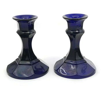Vintage Pressed Glass Cobalt Blue Candle Holder Set