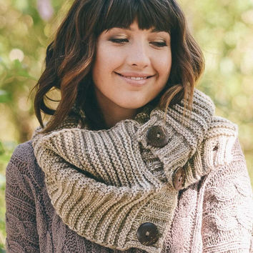 Chunky Knit Button Accent Infinity Scarf