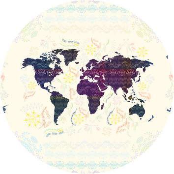 Bohemian Map Circle Wall Decal