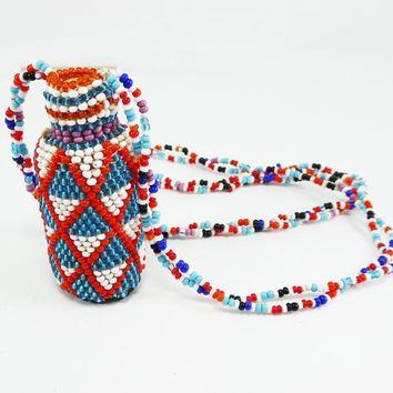 Beaded Bottle Pendant Necklace - Corked Bottle with Red, White and Blue Beads, Vintage 1970s BOHO Hippie Era