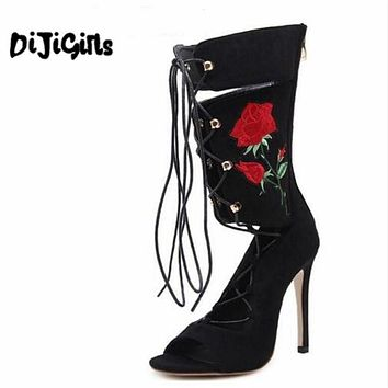 New Roman Embroider Gladiator High Heels Women Sandals Stiletto Booties Open Toe Strappy Lace Up zip Shoes Woman Boots