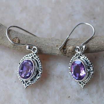 Natural Amethyst Earrings,Solid 925 sterling silver earring,dangle Designer earring,February Birthstone-Gift for Her boho Amethyst Jewellery
