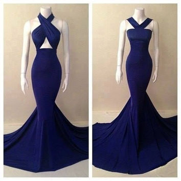 Real picture 2015 top quality two designs halter royal blue chiffon gorgeous mermaid prom dresses cheap girls dresses party
