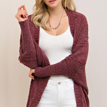 CABLE DOLMAN SWEATER CARDIGAN