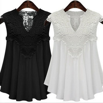 2015 Plus Size Women Sexy V-neck Chiffon Sleeveless Lace Summer Casual Clothes Fashion Loose shirt Top Blouse 3XL 4XL 5XL = 1958333188