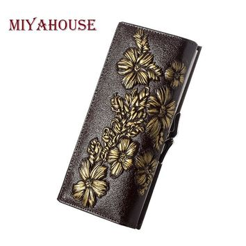 Miyahouse Genuine Leather Female Wallets Embossed Floral Long Purses Women Card Holder Wallet Luxury Leather Hasp Clutch Purse