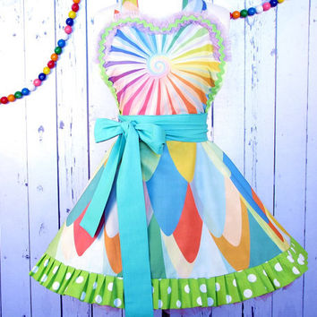 Rainbow Peacock Apron with Designer Kaleidoscope Swirl Fabric - Made to Order