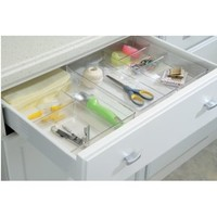 "InterDesign Linus Kitchen Drawer Organizer for Silverware, Spatulas, Gadgets - 12"" x 12"" x 2"", Clear"