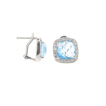 Blue and White Simulated Diamond Sterling Silver Vintage Style Square Halo Omega Clasp Stud Earrings