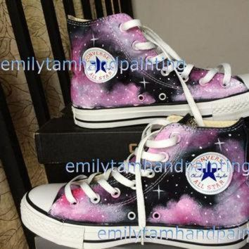 DCKL9 Custom Converse Galaxy Sneakers Hand Paint Galaxy Shoes Purple Galaxy Kicks Reserved f
