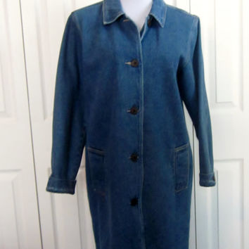 Vintage Denm Coat Lined Denim Outerwear Blue Jean Coat Womens Medium Long Jacket Denim Overcoat