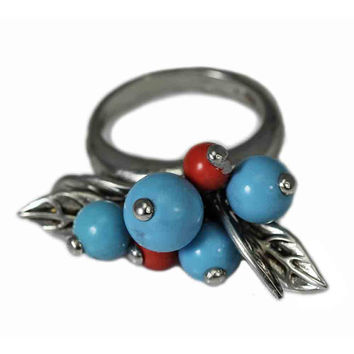Beaded Turquoise and Coral Leaf Ring