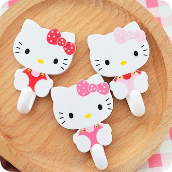 2 pcs/lot.Cute Hello kitty Plastic Adhesive Hook.Wall Wardrobe Towel Household Hanger.Door Kitchen Bathroom Hooks Organizer