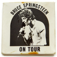 Vintage 70s Bruce Springsteen On Tour Button Pinback Badge Pin
