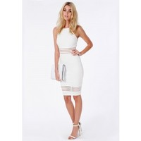 Missguided - Strappy Mesh Detail Midi Dress White