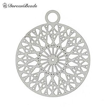Filigree Stainless Steel Charm Pendants Round Silver Tone Flower Hollow Carved 22mm( 7/8') X 18mm( 6/8')2 Pcs 2016 New